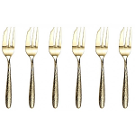Arthur Price Monsoon Mirage Champagne Pastry Forks - Set of 6 Hammered Finish