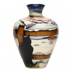 Moorcroft Who Goes There Vase 03/7 - Cat Watching Fox