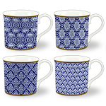 Heritage Bone China - Moroccan Blue Mugs - Set of 4