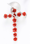 Poppy Brooch - Poppy Cross with Helmet