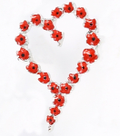 Poppy Brooch - Heart Wreath Brooch