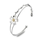 Sea Gems Silver Bangle - Sterling Silver and Brass Fine Flower Bangle