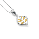 Sea Gems Silver Pendant - Leaves & Gold Pendant & Oval Pointed