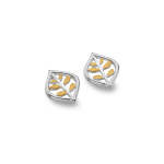 Sea Gems Silver Stud Earrings - Leaves & Gold Pendant & Oval Pointed
