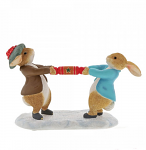 Beatrix Potter - Peter Rabbit and Benjamin Pulling a Cracker Figurine