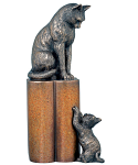 Genesis Fine Arts - Cat and Kitten - Nurture - Bronze 29cm High