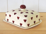 Peregrine Pottery - Queen of Hearts Butter Dish