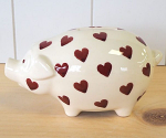Peregrine Pottery - Queen of Hearts Red Piggy Bank