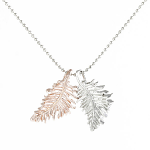 Rose Gold Pendant - Two Tone Feathers