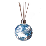 Amelia Reed Diffuser Glass Sphere Turquoise & White (with Reeds)