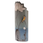Silhouette d'art Vase - Koson - Kingfisher with Lotus Flower