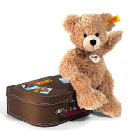 Steiff Fynn Beige Teddy Bear 28cm in Brown Suitcase