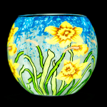 Benaya Sunshine Daffodils Light Glass Tealight Holder