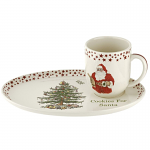 Spode Christmas Tree - Red Stars Cookies for Santa Plate & Mug