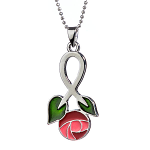 Mackintosh Pendant - Large Rose Enamel Pendant