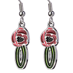 Mackintosh Earrings - Rose on Stem Enamel Earrings