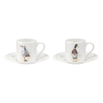 Royal Worcester Wrendale Designs - Demitasse 2 Cup & Saucer Set Ducks