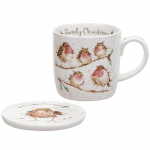 Royal Worcester Wrendale Designs - Mug and Coaster - Robin - Family Christmas