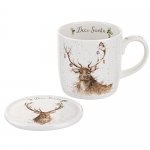 Royal Worcester Wrendale Designs - Mug and Coaster - Deer Santa