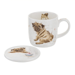 Royal Worcester Wrendale Designs - Mug and Coaster - Pug Love