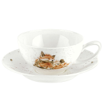 Royal Worcester Wrendale Designs - Cup & Saucer Large - Fox Cubs - Afternoon Nap