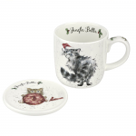 Royal Worcester Wrendale Designs - Mug and Coaster - Jingle Belle Cat