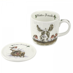 Royal Worcester Wrendale Designs - Mug and Coaster - Winter Friends Donkey
