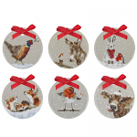 Royal Worcester Wrendale Designs - Set of 6 Christmas Decorations Gift Boxed