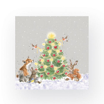 Wrendale Designs - Napkins - Cocktail - Oh Christmas Tree Woodland Animals