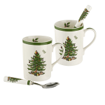 Spode Christmas Tree - 2 Mug & Spoons Gift Set