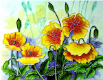 Ceramic Art Tile - Yellow Poppies 11in x 14in