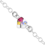 Shrieking Violet Mixed Flowers Bracelet - Round Link Chain with Heart