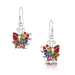 Shrieking Violet Mixed Flowers Drop Earrings - Small Butterfly