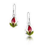 Shrieking Violet Rose Bud Drop Earrings - Oval M