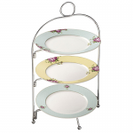 3 Tier Metal Plate Stand & 4 Aynsley Archive Rose Side Plates