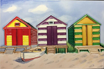 Ceramic Art Tile - Beach Huts 8in x 12in