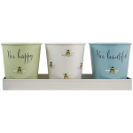 Bee Happy -  Set of 3 Steel Pots with Tray