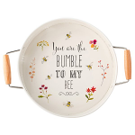 Bee Happy -  Steel Round Serving Tray with Handles