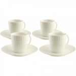 Belleek Living Grafton Teacups & Saucers - Set of 4