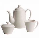 Belleek Living Ripple Beverage Pot Sugar & Cream Set