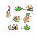 Anita Jeram - Napkins - Cocktail - Funny Hedgehogs