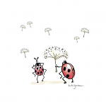 Anita Jeram - Napkins - Cocktail - Happy Go Lucky Ladybird