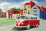 Ceramic Art Tile - On My Way Camper Van 8in x 12in