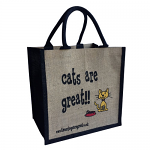 Jute Shopping Bag - Cats are Great