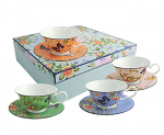 Aynsley Cottage Garden Windsor Teacups & Saucers Set of 4