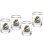 Portmeirion Holly & Ivy DOF Double Old Fashioned Glass Set of 4