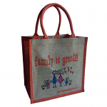 Jute Shopping Bag - Family is Great