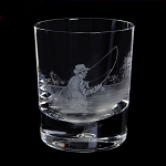 Royal Brierley Engraved Fly Fisherman Whisky Tumbler