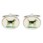 Fox Hound Dog Image Oval Cufflinks