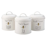 Bee Happy -  Set of Tea Coffee Sugar Storage Tins
